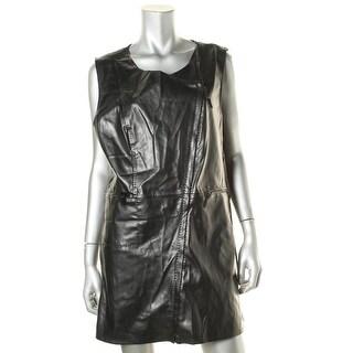 Studio M Womens Jacqueline Casual Vest Faux Leather Zipper