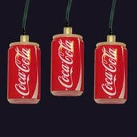 Set of 60 Battery Operated Coca-Cola Can LED Christmas Lights - Green Wire - RED
