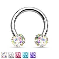 Crystal Paved Ferido Balls 316L Surgical Steel Circular Barbell/Horseshoe (Sold Individually)