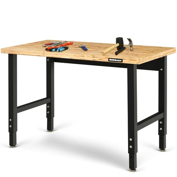 Gymax Adjustable Height Workbench Bamboo Top Steel Frame Heavy-duty Garage - as pic