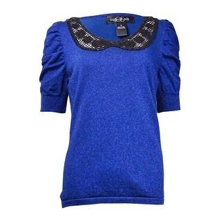 August Silk Women's Sequined-Collar Metallic Knit Top - m