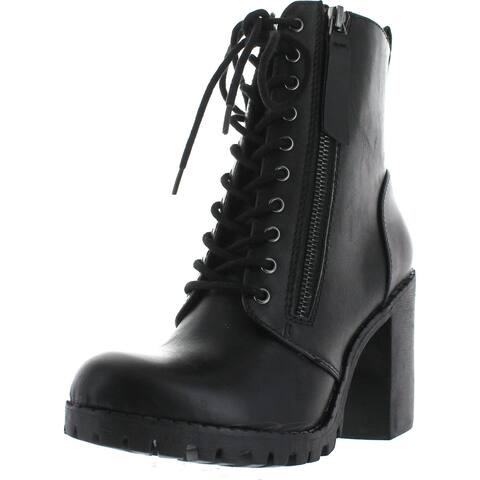 Soda Women's Malia Faux Leather Lace Up Chunky Ankle Boot - Black