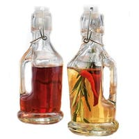 Palais Glassware Oil and Vinegar Clear Glass Dispenser Cruet Bottle, Set of 2 (Bail and Trigger Lid)