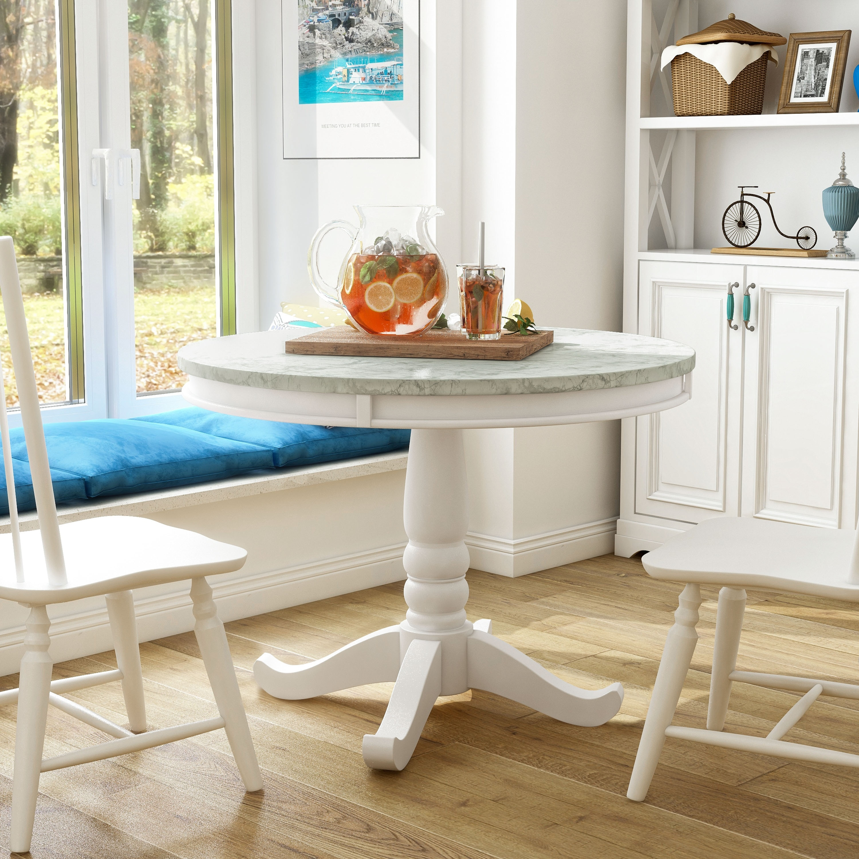 Furniture of America Ten Country 9 inch Round Dining Table