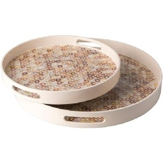 """Set of 2 Arabela Creamy Beige with Mother of Pearl Decorative Round Serving Tray 14"""" - 18"""" - Brown"""