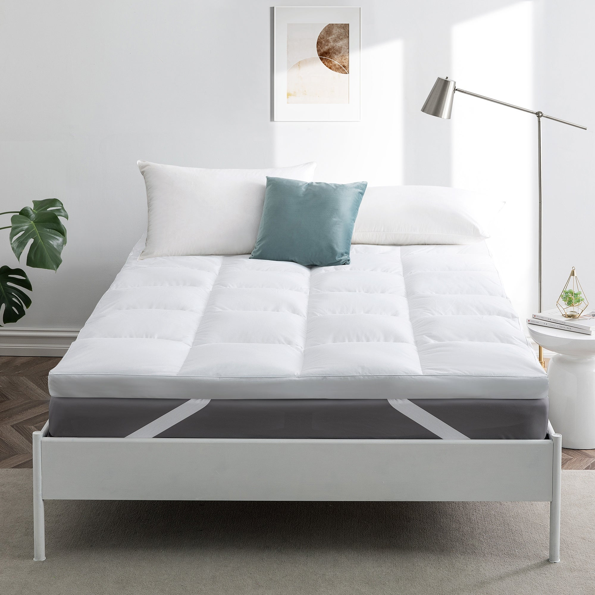 Premium Goose Feather Bed Down Mattress Topper With Cotton Cover In White Overstock 30779421