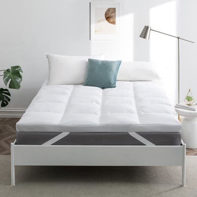 Premium Goose Feather Bed/ Down Mattress Topper with Cotton Cover in White
