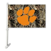 Bsi Products Inc Clemson Tigers Car Flag With Wall Brackett - Realtree Camo Background Flag