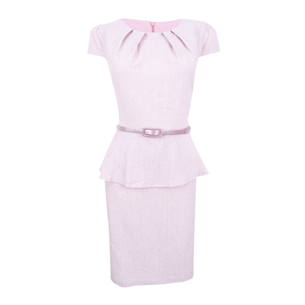 Connected Women's Belted Peplum Sheath Dress - Dusty Rose