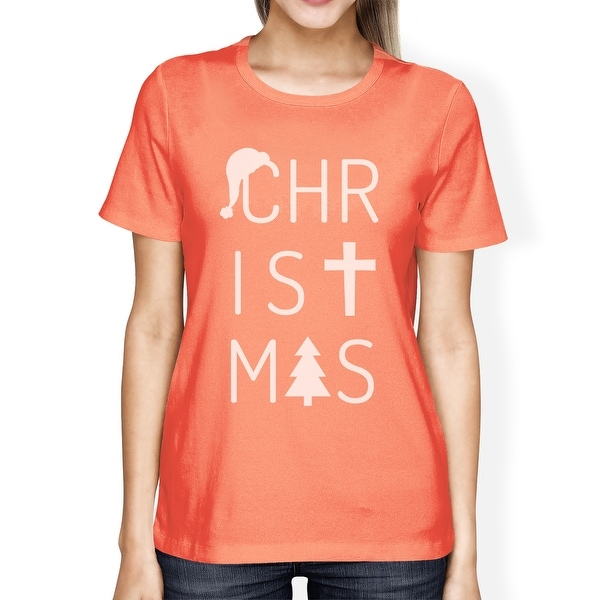 45c94bb9 Shop Christmas Letters Trendy Design Womens White Graphic Tee Shirt ...