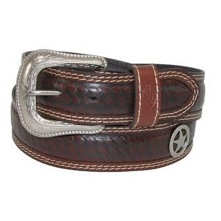 Dickies Men's Leather Western Star Belt - Brown