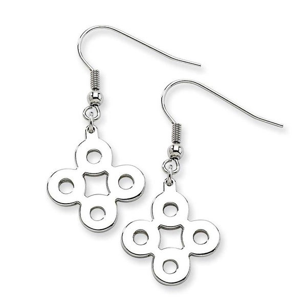 Chisel Stainless Steel Polished Connected Circles Dangle Earrings