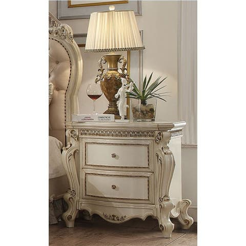 Luxury Vintage Nightstand in Antique Pearl,2 Drawers,Traditional