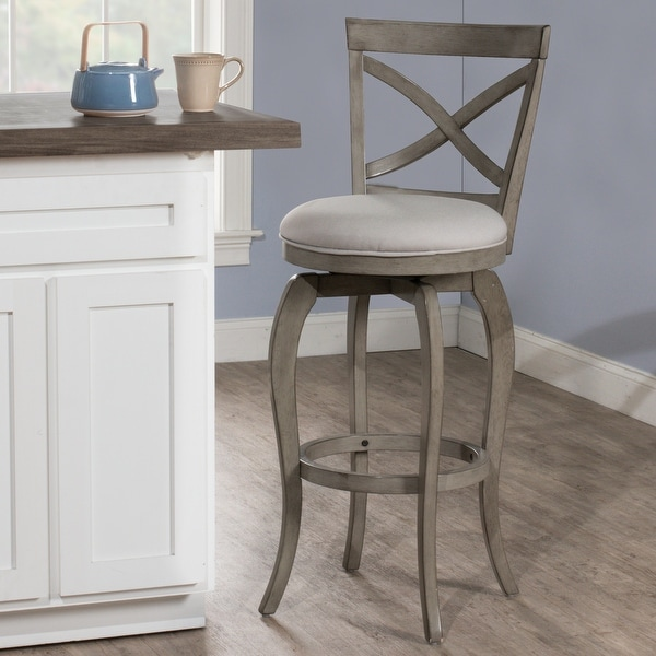 The Gray Barn Chatterly Aged Grey Swivel Counter-height Stool. Opens flyout.