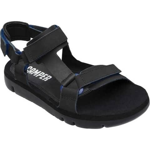 Camper Men's Oruga Sport Sandal Black/Blue Full Grain Leather