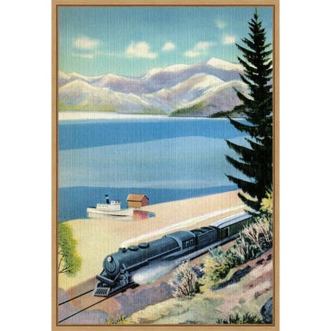 Steaming Along the Coast by Retrotravel Framed Canvas Art