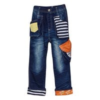 Rock'nStyle Baby Boys Dark Blue Stripe Pockets Patch Denim Pants