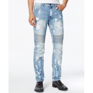 Reason NEW Blue Mens Size 40X32 Moto Distressed Straight Leg Jeans|https://ak1.ostkcdn.com/images/products/is/images/direct/4e2a35b80d1746b3a11ad01b58a92c2d44ca022c/Reason-NEW-Blue-Mens-Size-40X32-Moto-Distressed-Straight-Leg-Jeans.jpg?impolicy=medium
