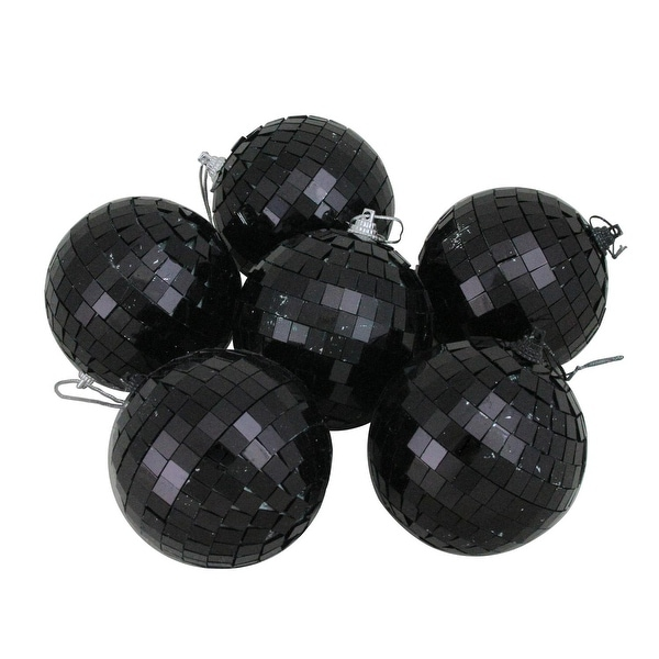 "6ct Black Mirrored Glass Disco Ball Christmas Ornaments 3.25"" 80mm"