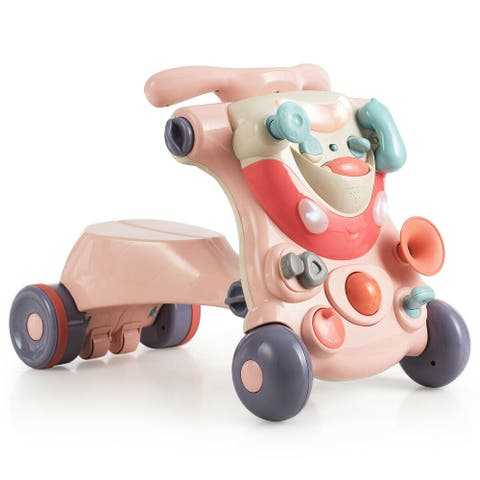 2-in-1 Baby Activity Center Sit-to-Stand Walker-Pink