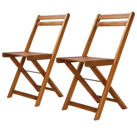 vidaXL Outdoor Bistro Chairs 2 pcs Solid Acacia Wood