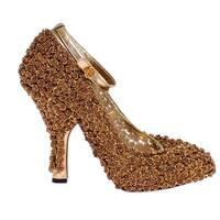 Dolce & Gabbana Gold Floral Metal Leather Pumps - 39