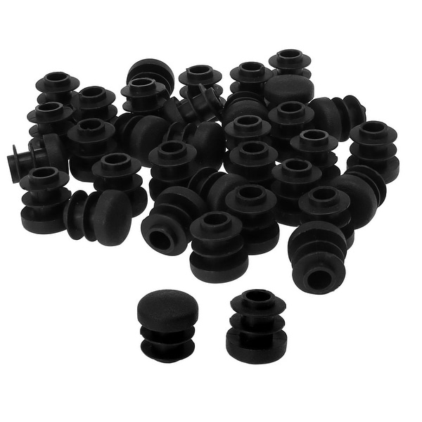 """1/2"""" 14mm OD Plastic Round Tube Ribbed Inserts End Cover Caps 35pcs"""