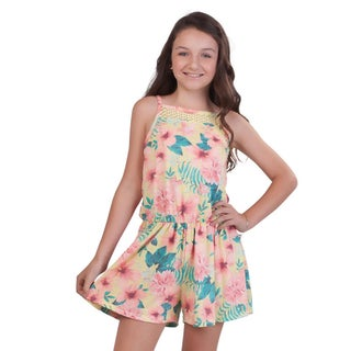 Pulla Bulla Big Girl Floral Romper Sleeveless Jumpsuit (5 options available)