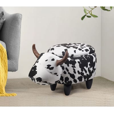 Cow Animal Storage Ottoman,Cute upholstered Footrest/Foot Stool,Kids Ride on Ottoman