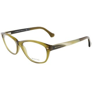 Balenciaga BA5021/V 096 Crystal Dark Shiny Green/Yellow Brown Horn Oval Opticals