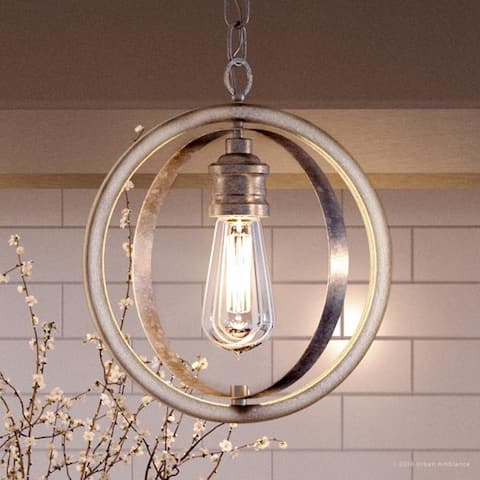 """Luxury Vintage Pendant Light, 14""""H x 12""""W, with Modern Farmhouse Style, Galvanized Steel Finish by Urban Ambiance"""