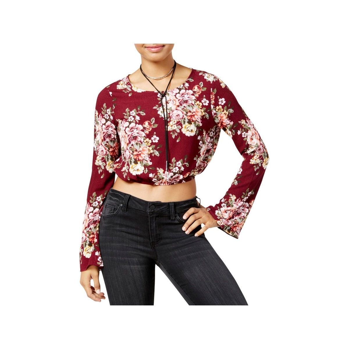 Polly /& Esther Womens Juniors Floral Long Sleeves Button-Down Top
