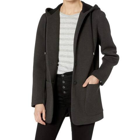 Nic+Zoe Black Women's Size XS Scuba Hooded Two Button Jacket