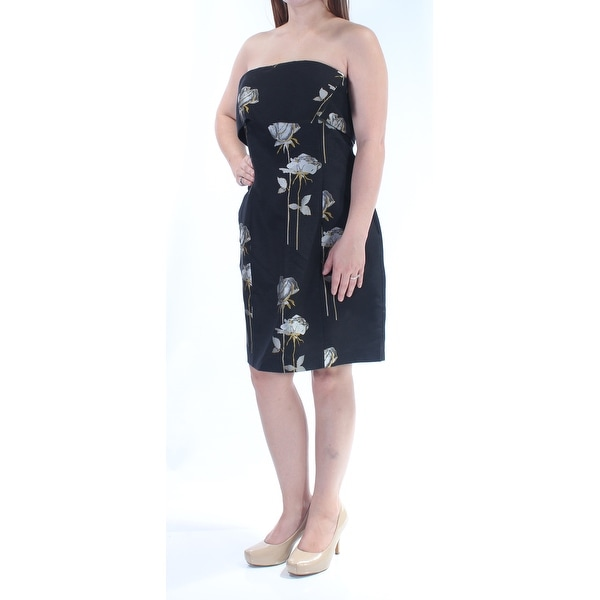 RACHEL ROY Womens Black Floral Sleeveless Strapless Knee Length Sheath Dress Size: 10