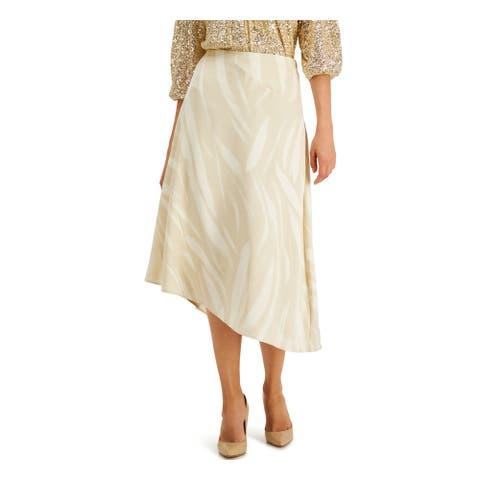 ALFANI Womens Beige Printed Midi A-Line Wear To Work Skirt Size 16