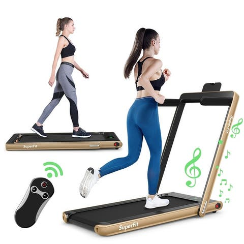 2 in 1 2.25 HP Under Desk Electric Installation-Free Folding Treadmil with Bluetooth Speaker and LED Display