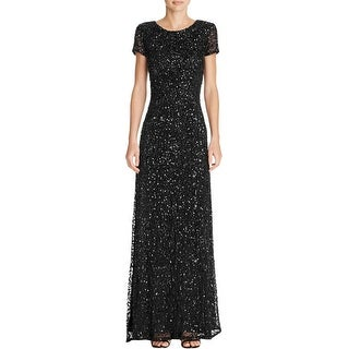Adrianna Papell Womens Evening Dress Sequined V-Back