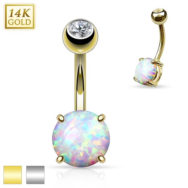 Prong Set 8mm Synthetic Opal Stone 14K Gold Navel Ring