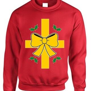 Adult Sweatshirt Christmas Gift Wrap Ugly Xmas Sweater Funny