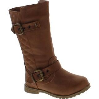 Lucky Top Katie-61K Children Girl's Quilted Low Heel Buckles Riding Knee High Boots