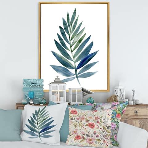 Designart 'Tropical Green Leaf' Farmhouse Framed Canvas Wall Art Print