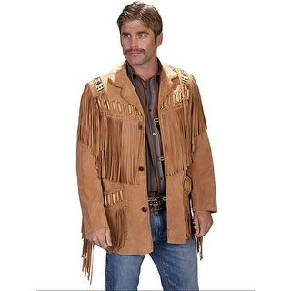 Scully Western Jacket Mens Leather Button Fringe Beading Camel 902-409