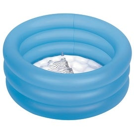 "25"" Bright Blue Inflatable Toddler's Three Ring Swimming Pool"