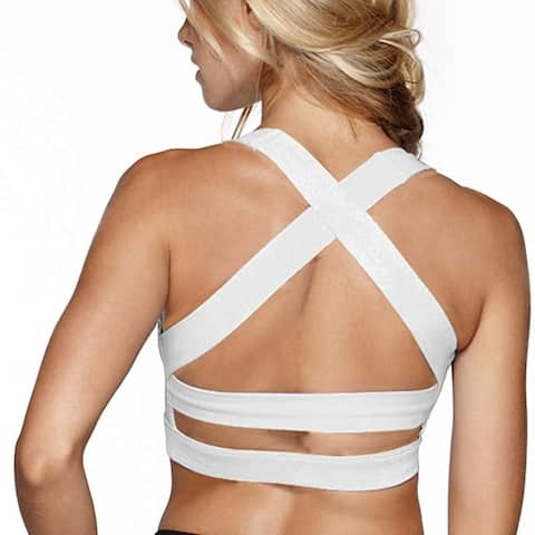 Snailify Women's Sports Bra Criss Cross, White, Size Medium(30B-D/32A-B)