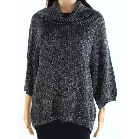 Belldini Womens Sweater Black Size Medium M Metallic Ribbed Cowl Neck