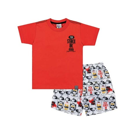 Toddler Boy Outfit Shirt and Graphic Shorts Set Pulla Bulla Sizes 1-3 Years