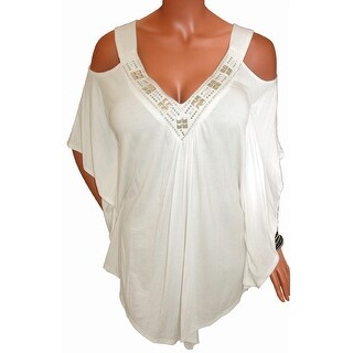 Funfash Plus Size Women Open Shoulder Off White Blouse Top Made USA