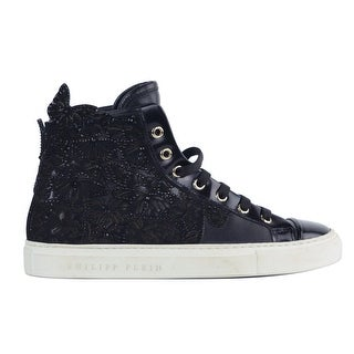 Philipp Plein Women Black Leather Dreamers Dont Die Sneakers