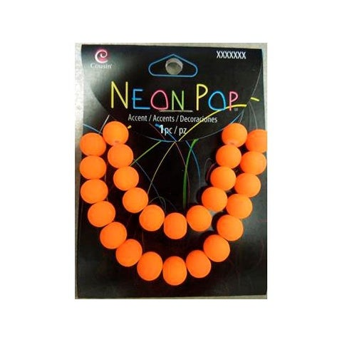 Cousins Neon Pop Beads Glass Orange 26pc