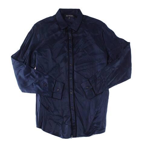 INC Blue Men Medium M Velvet-Trim Button Down Party Pajama Shirt